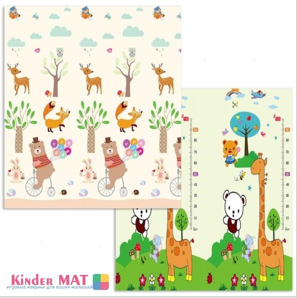 Складной коврик XPE «Медведь на велосипеде и жираф» Размер 200x180x1 см