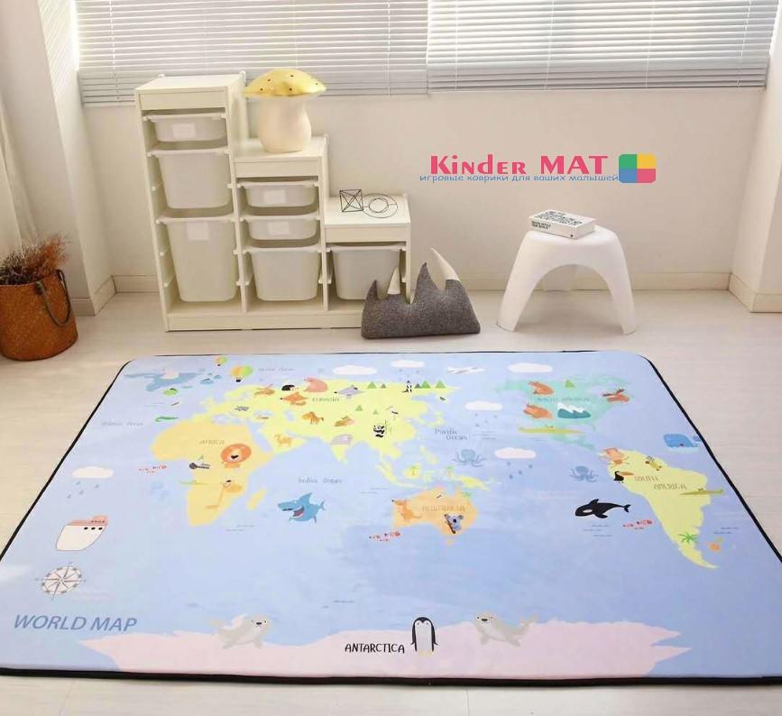 Плюшевый коврик-мат «карта мира» Размер 200×150 см