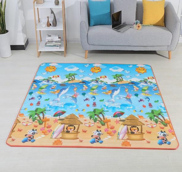Детский игровой коврик «Пляж и дельфины» Размер 200x180x2 см