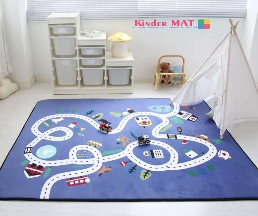 Плюшевый коврик-мат «синяя дорога» Размер 200×150 см
