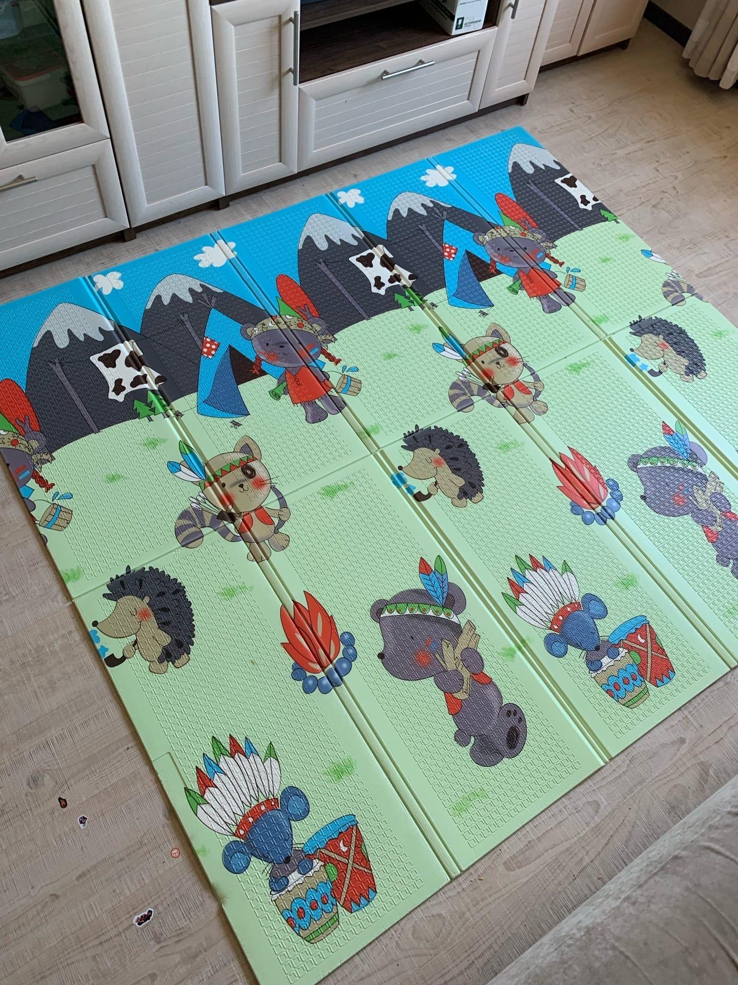 Складной коврик XPE «Индейцы и паровозик» Размер 200x180x1 см