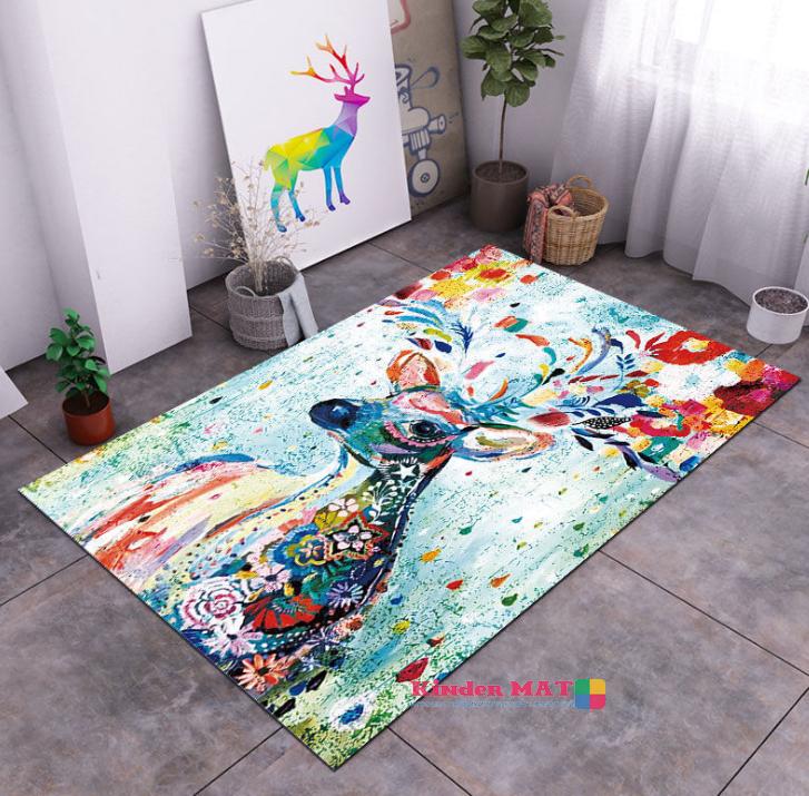 Плюшевый коврик без наполнителя «Олень» Размер 200x140x0.6 см