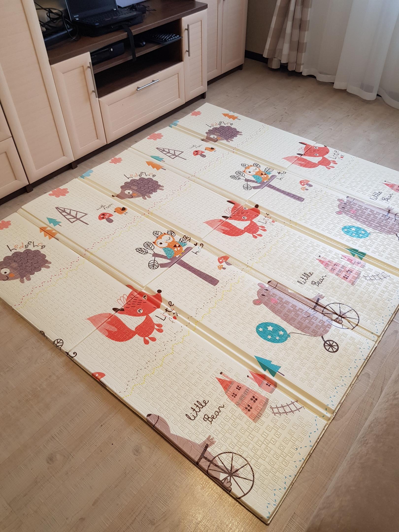Утолщённый складной коврик XPE «Животные леса и совушки» 200x180x1,5 см.
